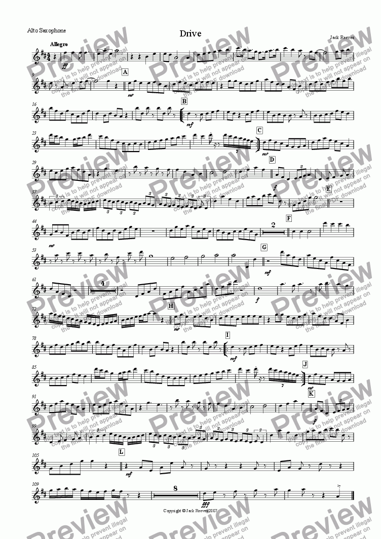 page one of the Alto Saxophone part from Drive (Brass and Saxophone Ensemble)