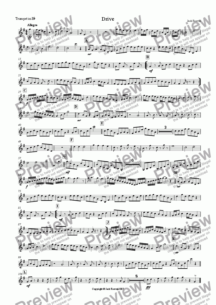 page one of the Trumpet in Bb part from Drive (Brass and Saxophone Ensemble)