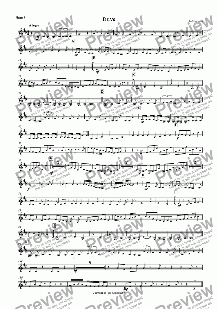 page one of the Horn 3 part from Drive (Mid Brass Ensemble)