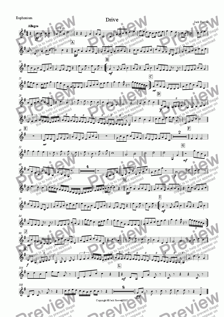 page one of the Euphonium(Treble Clef) part from Drive (Mid Brass Quartet with Piano)