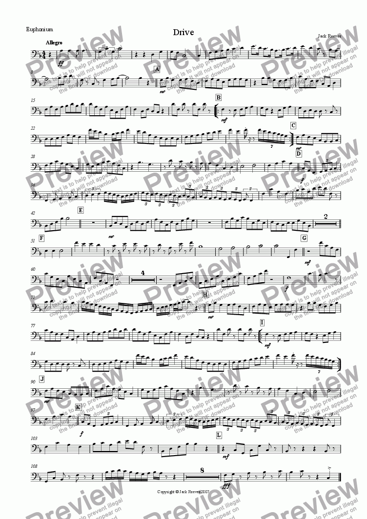 page one of the Euphonium(Bass Clef) part from Drive (Mid Brass Quartet with Piano)