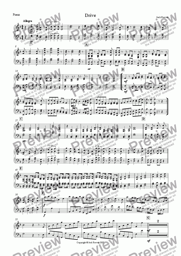 page one of the Piano part from Drive (Mid Brass Quartet with Piano)