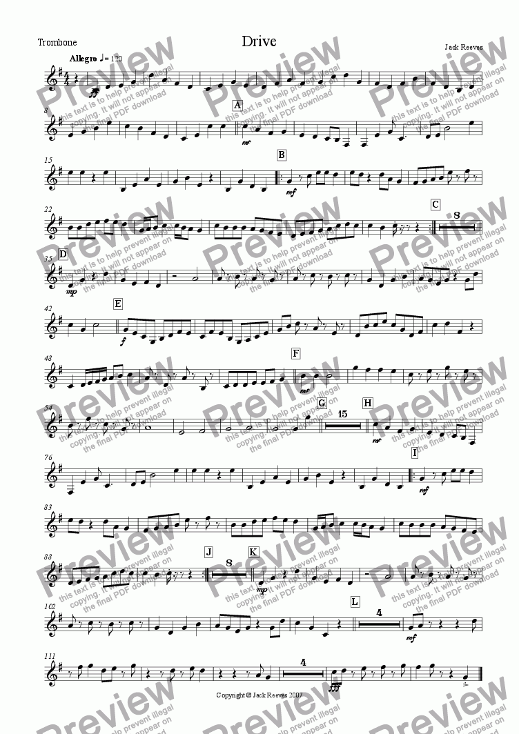 page one of the Trombone(Treble Clef) part from Drive (Orchestra)