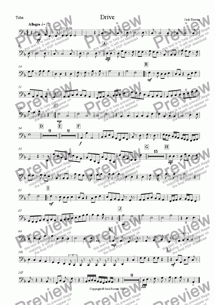 page one of the Tuba part from Drive (Orchestra)