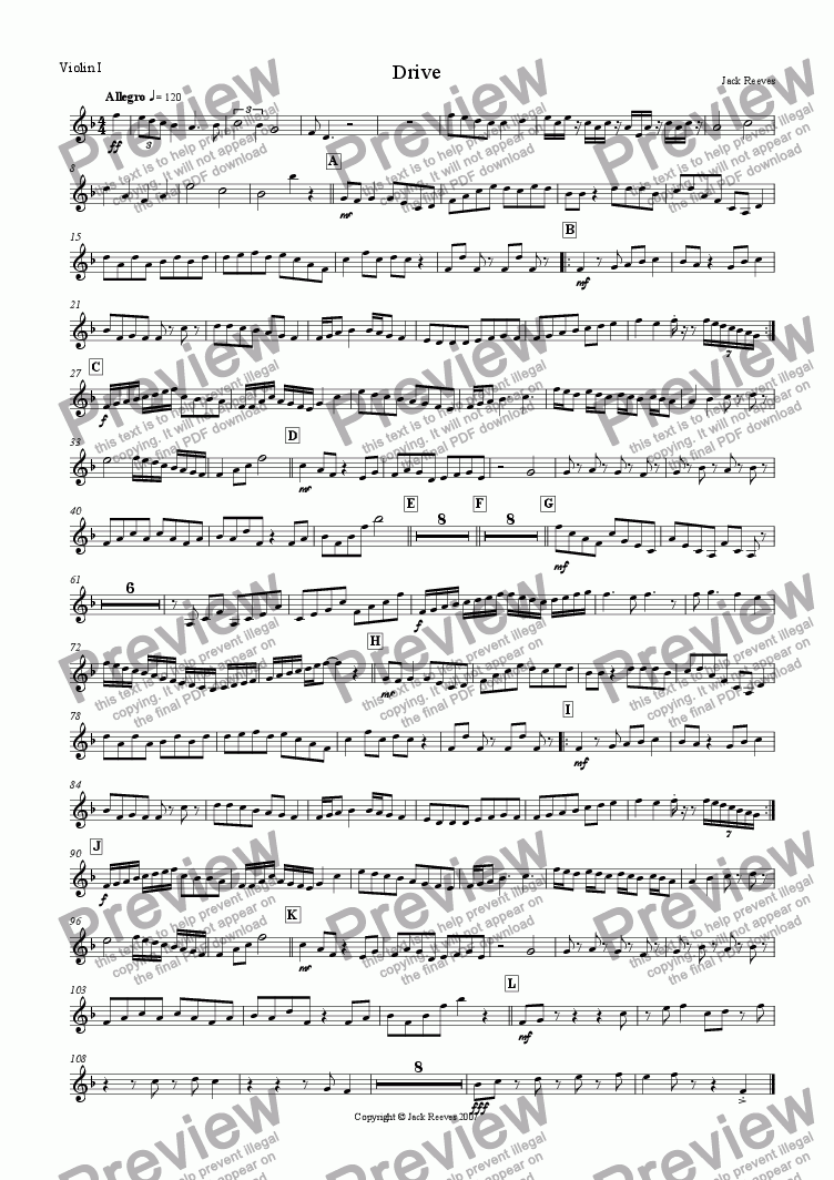 page one of the Violin 1 part from Drive (Orchestra)