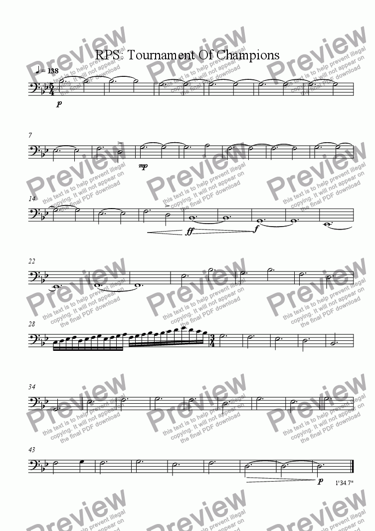 page one of the Double Bass part from RPS: Tournament of Champions