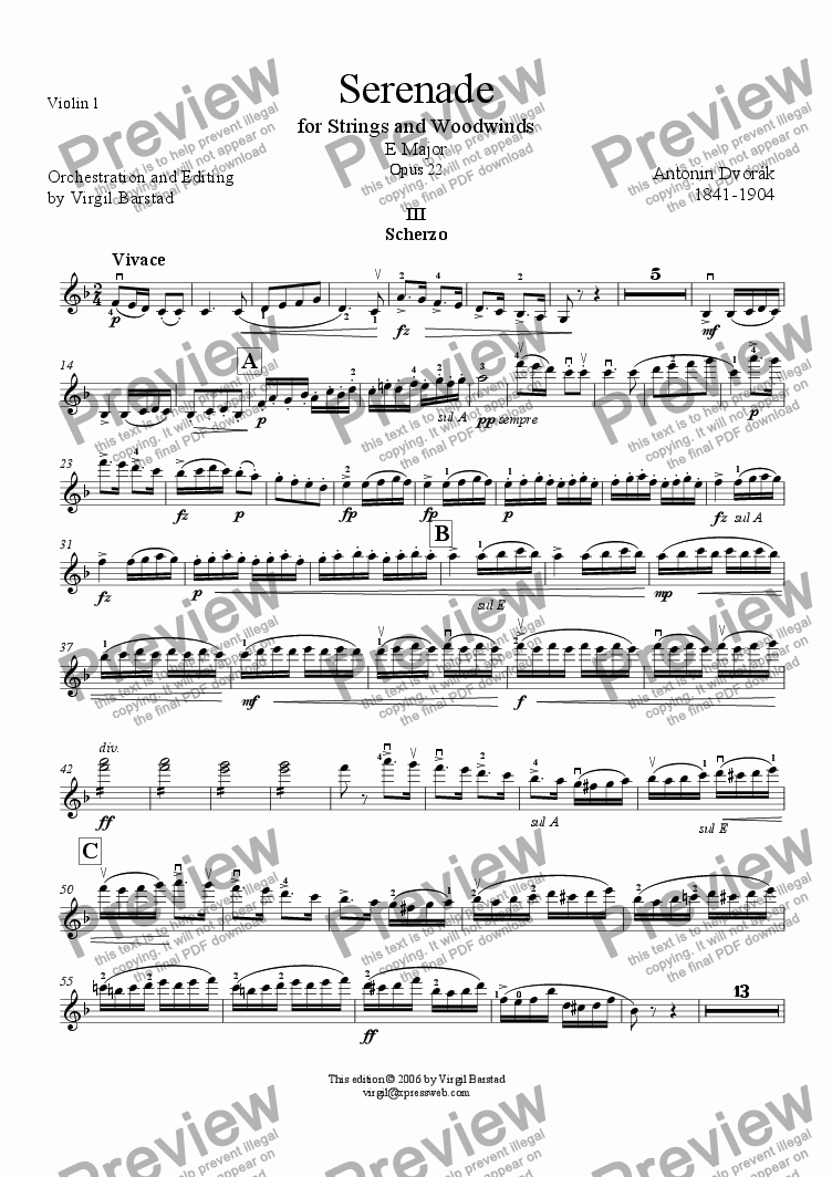 page one of the Violin 1 part from Serenade for Strings and Winds Op 22 - 3