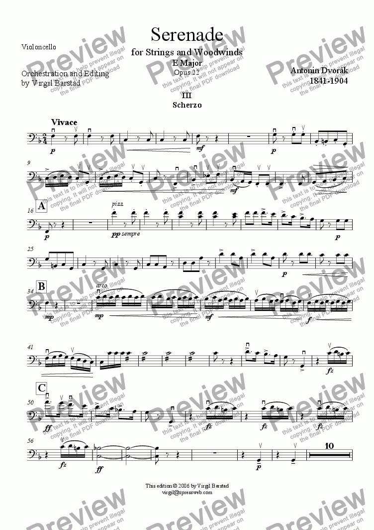 page one of the Violoncello part from Serenade for Strings and Winds Op 22 - 3