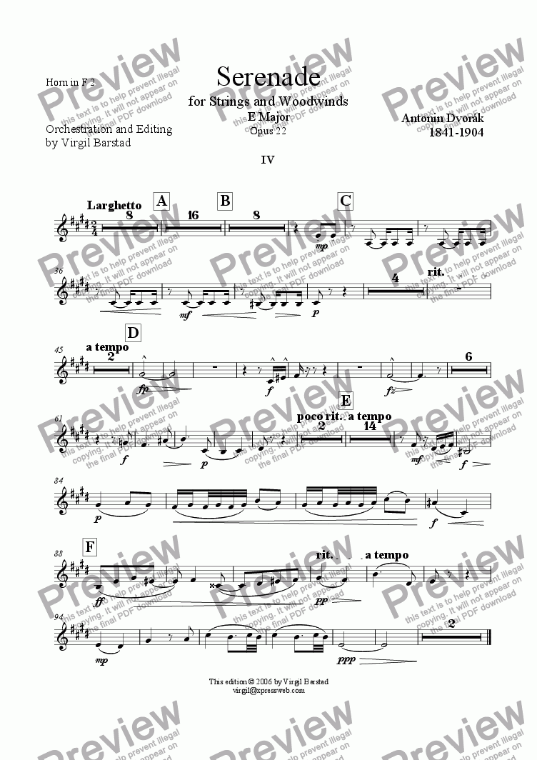 page one of the Horn in F 2 part from Serenade for Strings and Winds Op 22 - 4