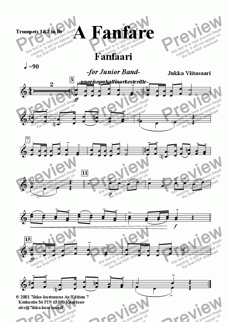 page one of the Trumpets 1&2 in Bb part from A Fanfare (youth band)