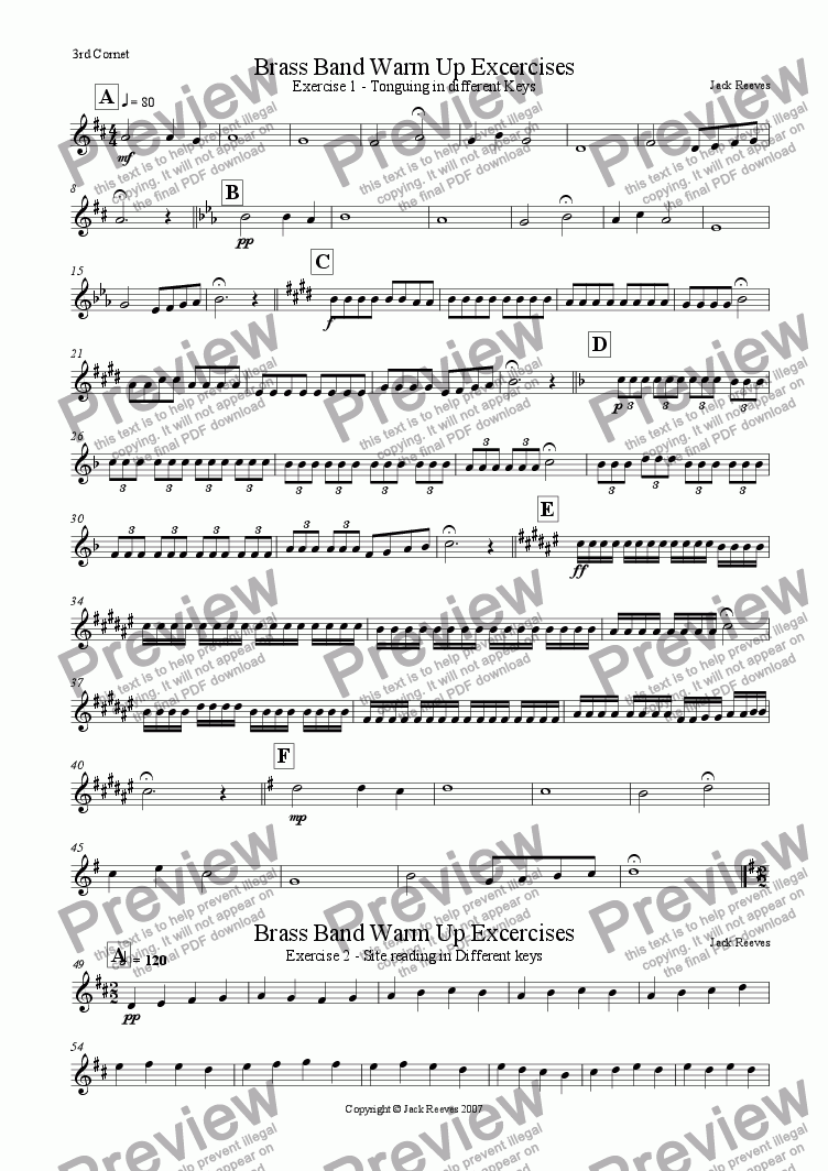page one of the 3rd Cornet part from Brass Band Warm Up Exercises 1-10