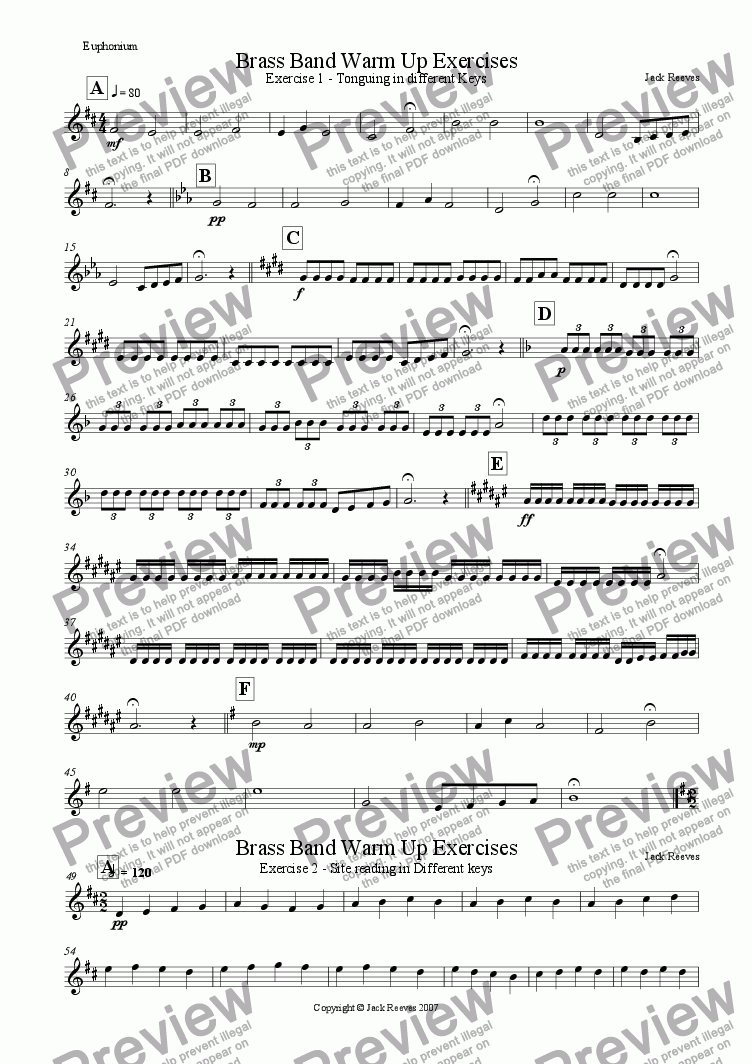 page one of the Euphonium part from Brass Band Warm Up Exercises 1-10