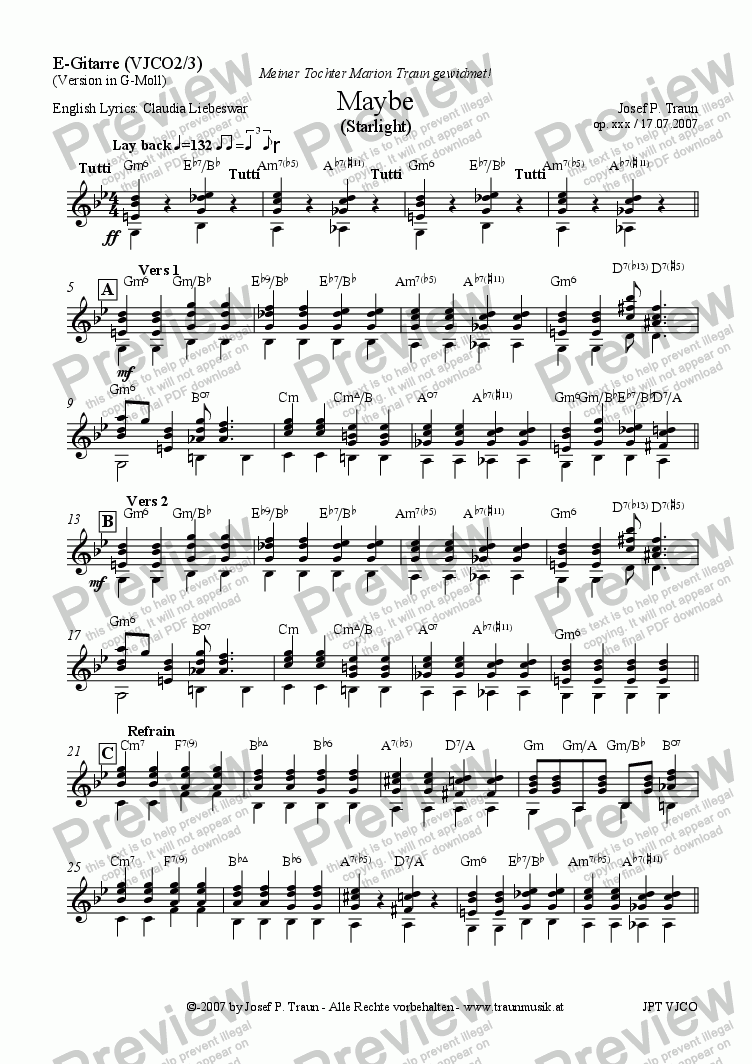 page one of the Gitarre part from Maybe (Starlight) (VJCO/Score & Parts)
