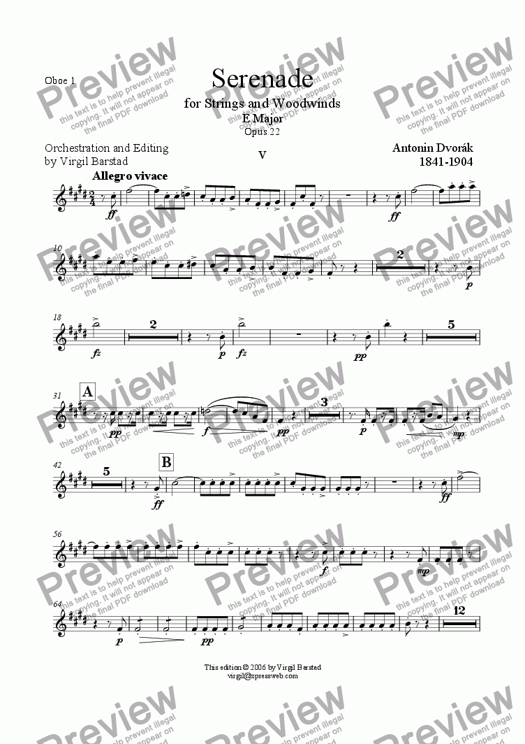 page one of the Oboe 1 part from Serenade for Strings and Winds Op 22 - 5