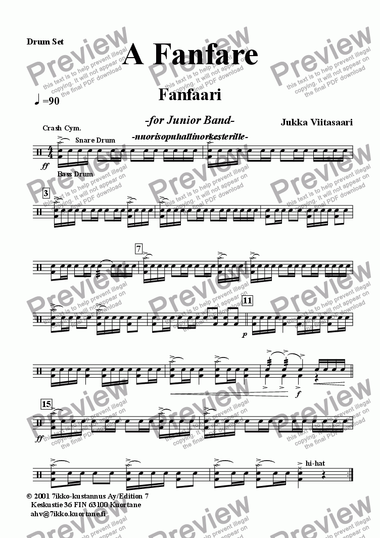 page one of the Drum Set part from A Fanfare (youth band)