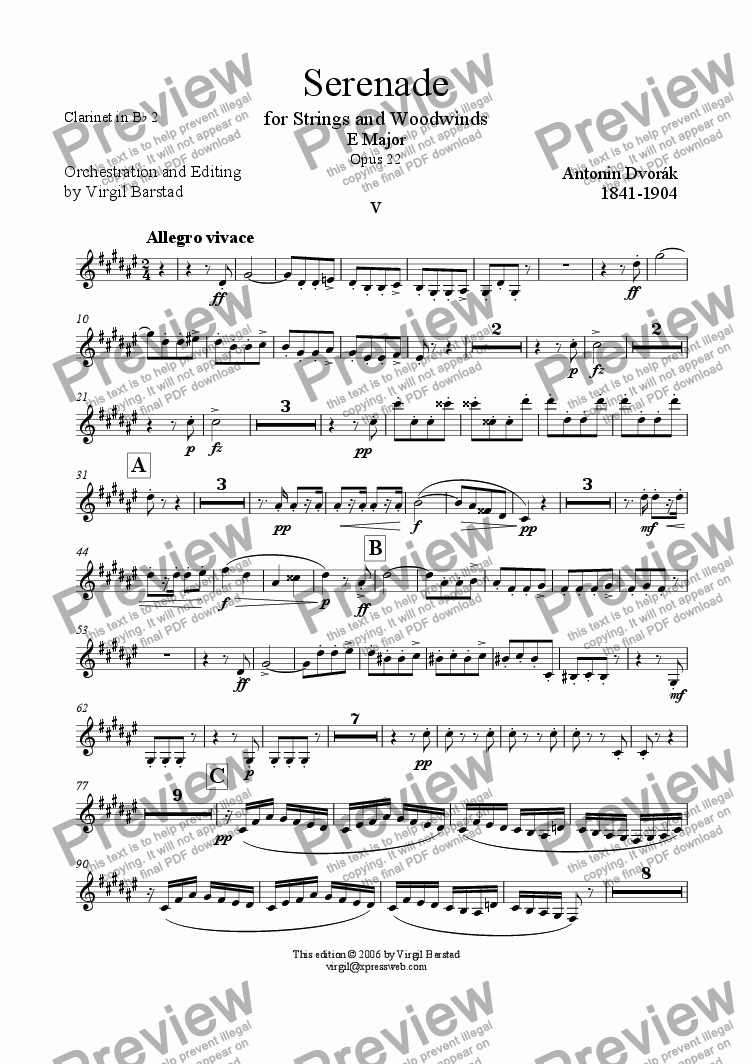 page one of the Clarinet in Bb 2 part from Serenade for Strings and Winds Op 22 - 5