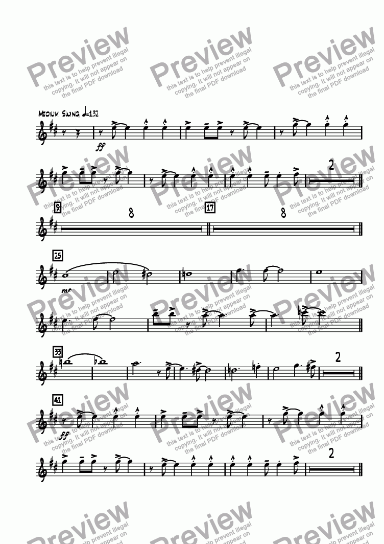 page one of the Alto Sax 1 part from Road Home, The