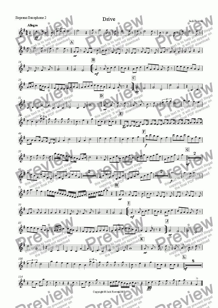 page one of the Soprano Saxophone 2 part from Drive (Saxophone Ensemble)