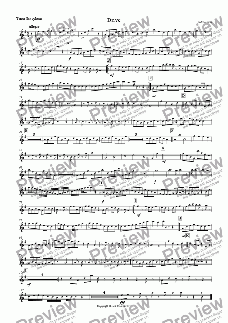 page one of the Tenor Saxophone part from Drive (Saxophone Quartet with Piano)