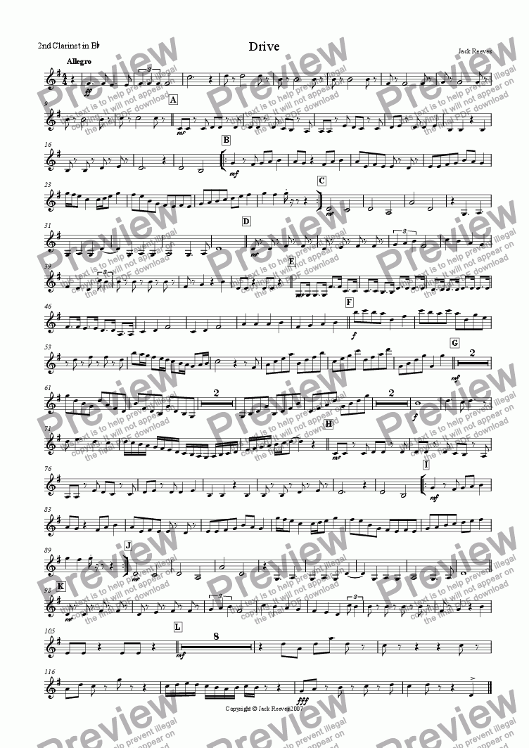 page one of the 2nd Bb Clarinet part from Drive (Single Reed Ensemble)