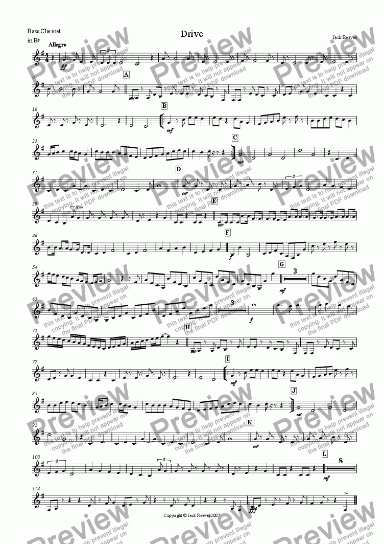 page one of the Bass Clarinet in Bb part from Drive (Single Reed Ensemble)