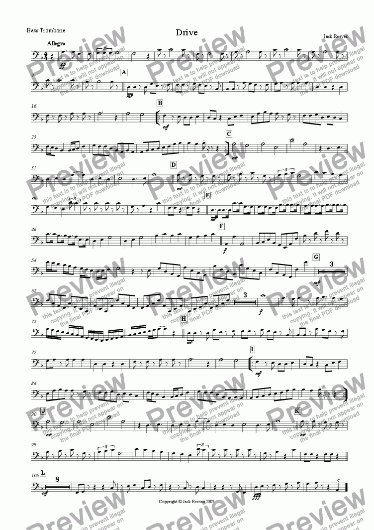 page one of the Bass Trombone part from Drive (Small Brass)