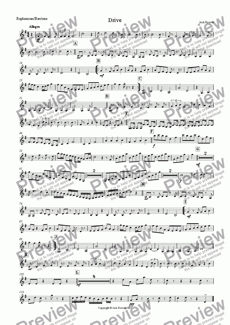page one of the Euphonium/Baritone part from Drive (Small Brass)