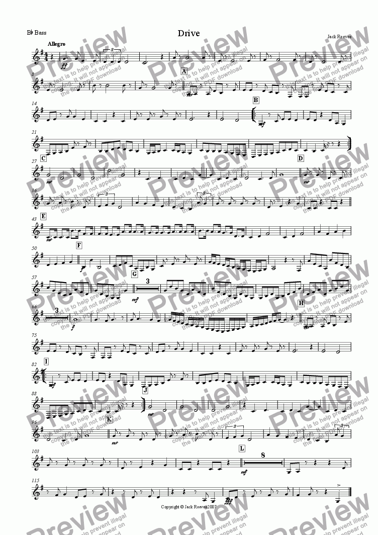 page one of the Bb Bass part from Drive (Small Brass)