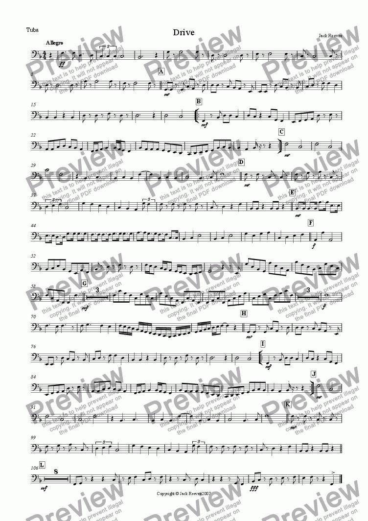 page one of the Tuba part from Drive (Small Brass)