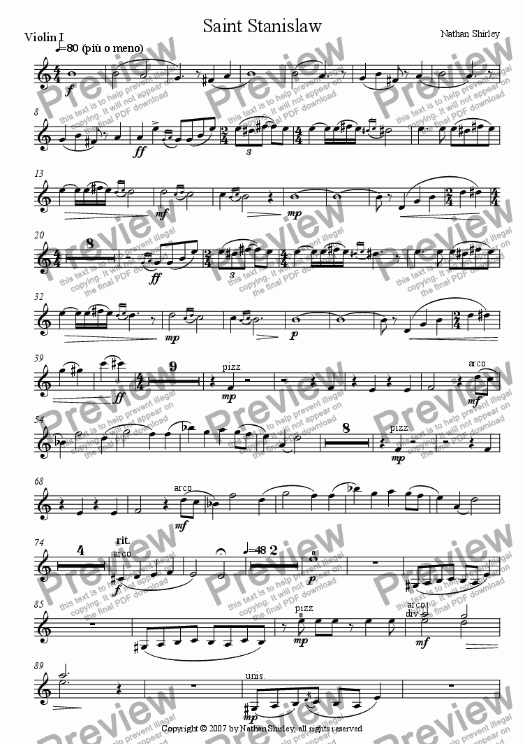 page one of the Violin 1 part from Saint Stanislaw