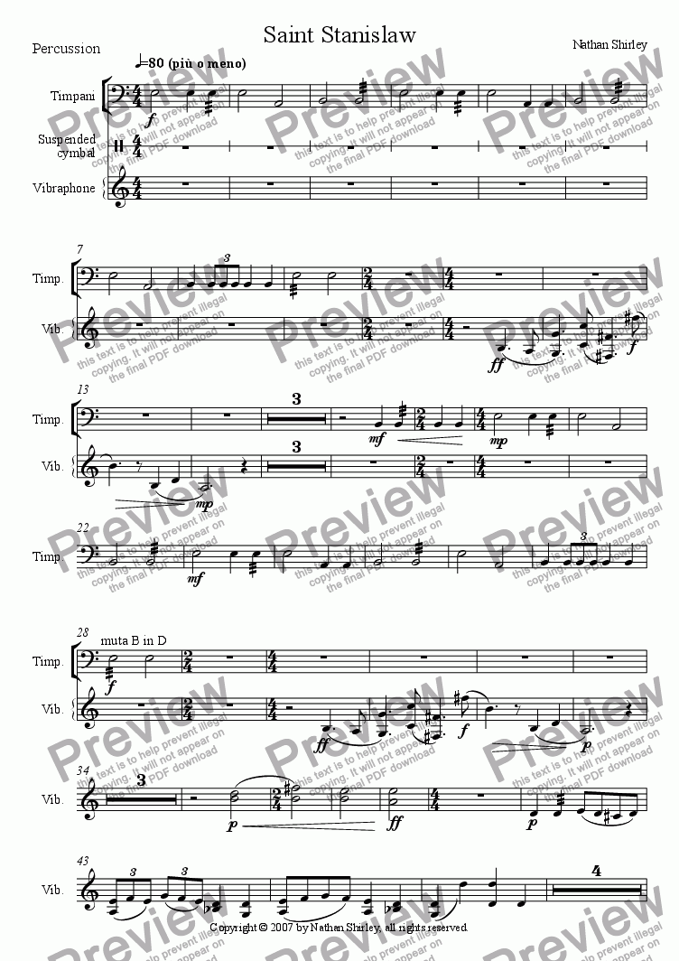 page one of the Percussion part from Saint Stanislaw