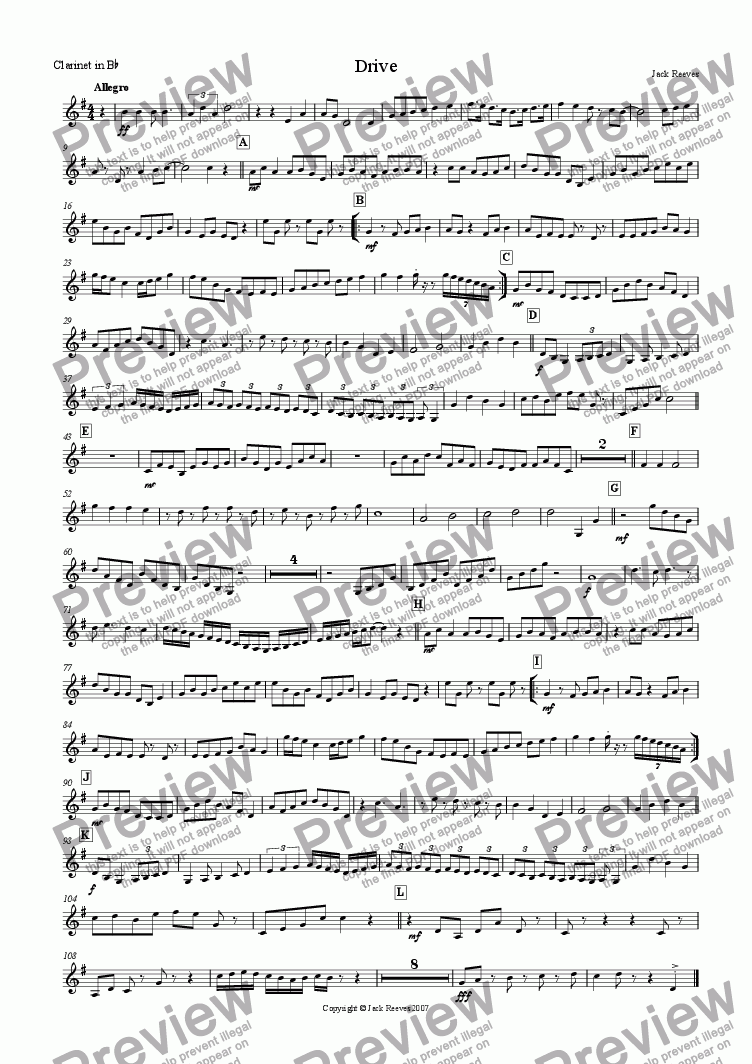 page one of the Clarinet in Bb part from Drive (Small Orchestra)