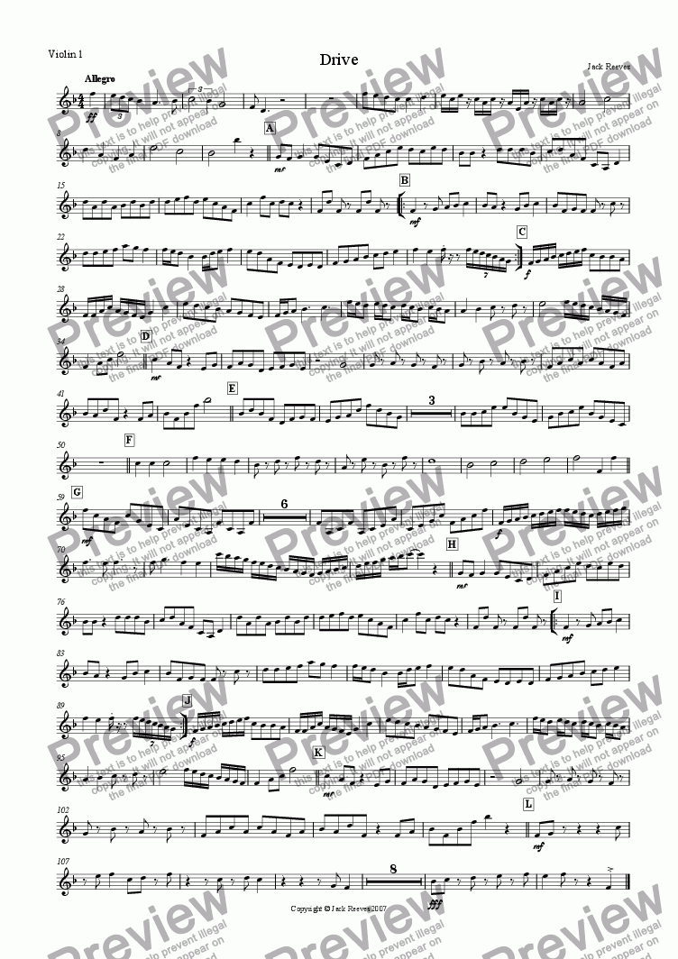 page one of the Violin 1 part from Drive (String Ensemble)