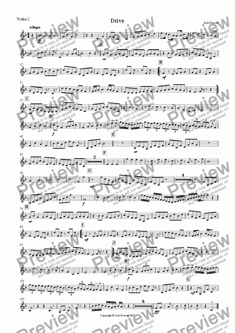page one of the Violin 2 part from Drive (String Ensemble)
