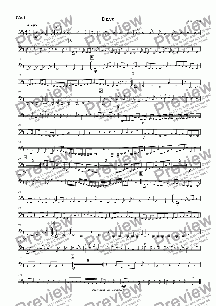 page one of the Tuba 3 part from Drive (Tuba Ensemble)
