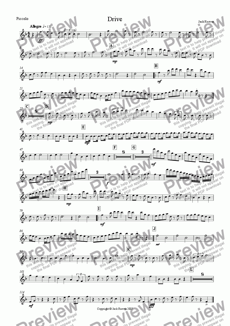page one of the Piccolo part from Drive (Wind Band)