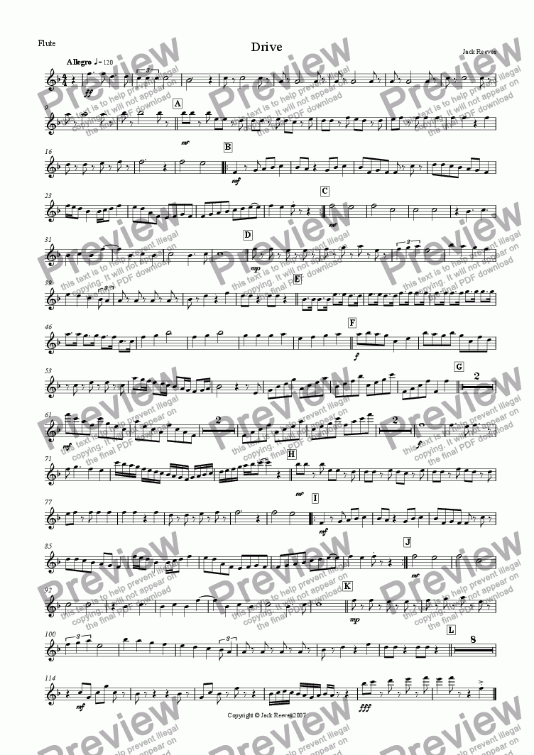 page one of the Flute part from Drive (Wind Band)