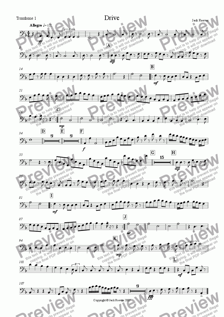 page one of the Trombone 1 part from Drive (Wind Band)