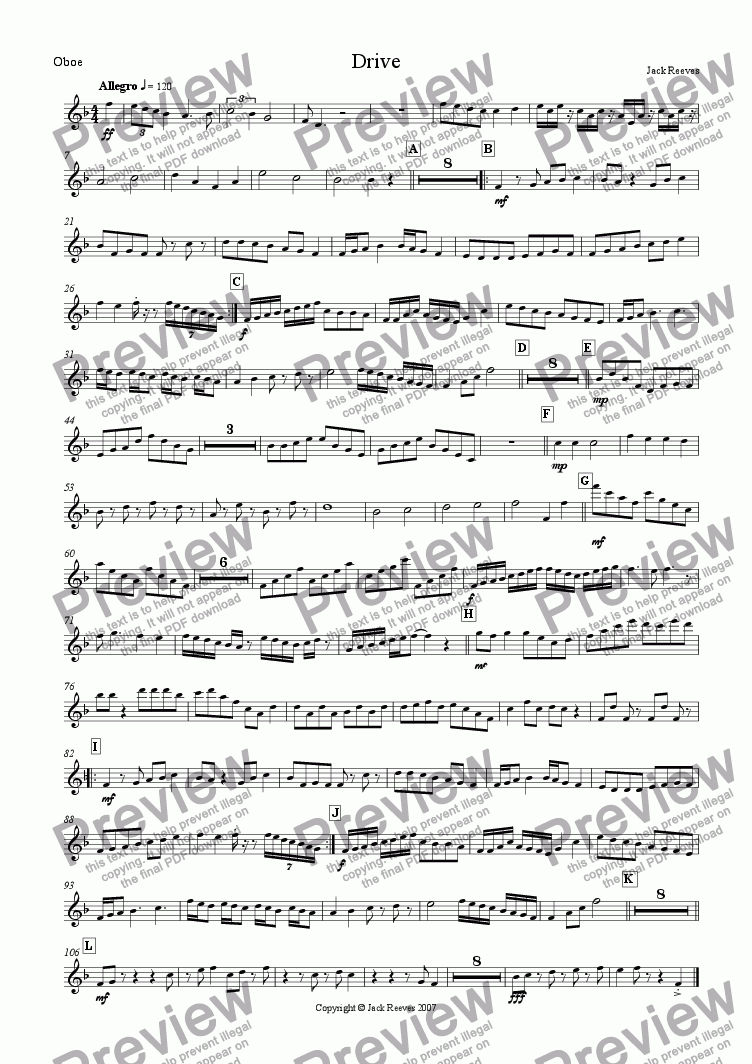 page one of the Oboe part from Drive (Woodwind)