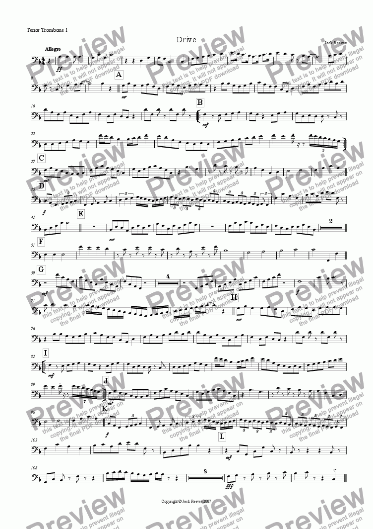 page one of the Tenor Trombone 1 part from Drive (Trombone Ensemble)