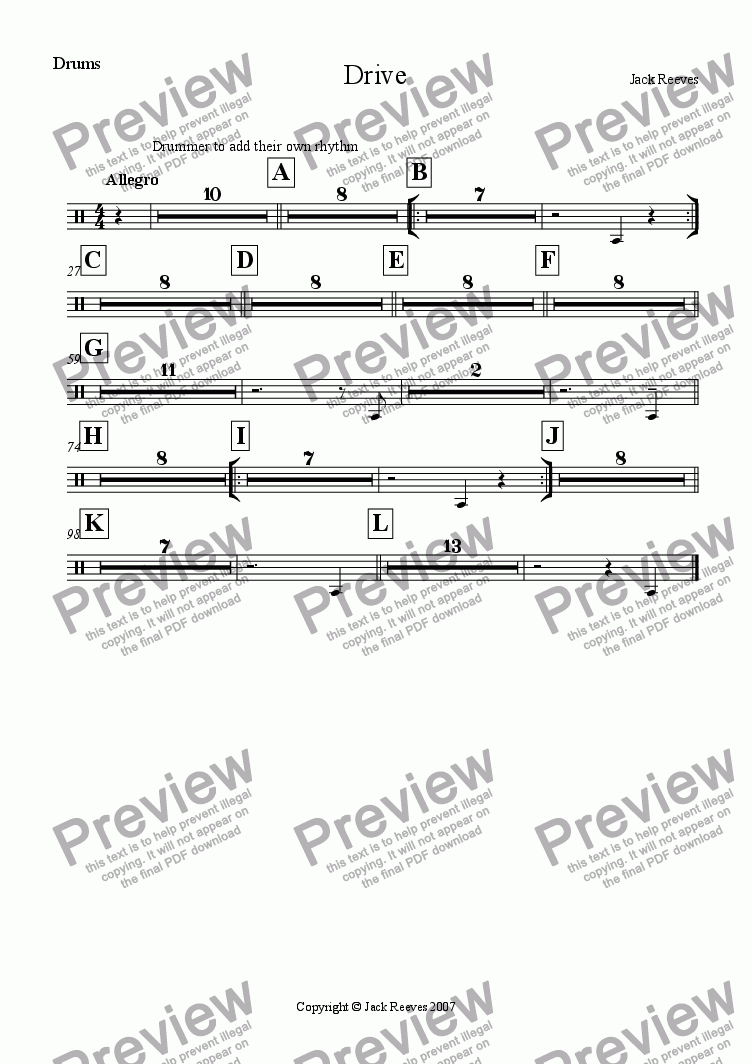 page one of the Drums part from Drive (Trombone Ensemble)