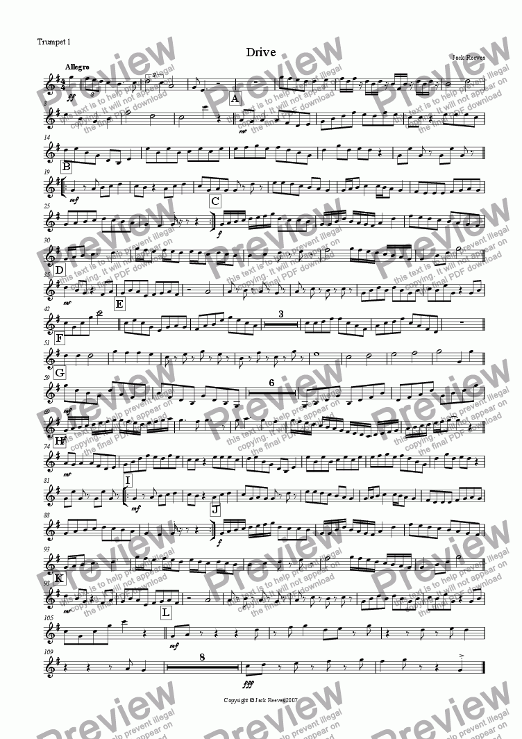 page one of the Trumpet 1 part from Drive (Brass Quartet with Piano)