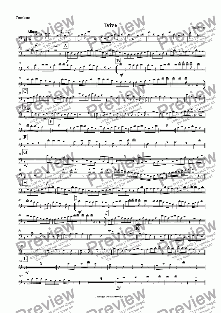page one of the Trombone (Bass Clef) part from Drive (Brass Quartet with Piano)
