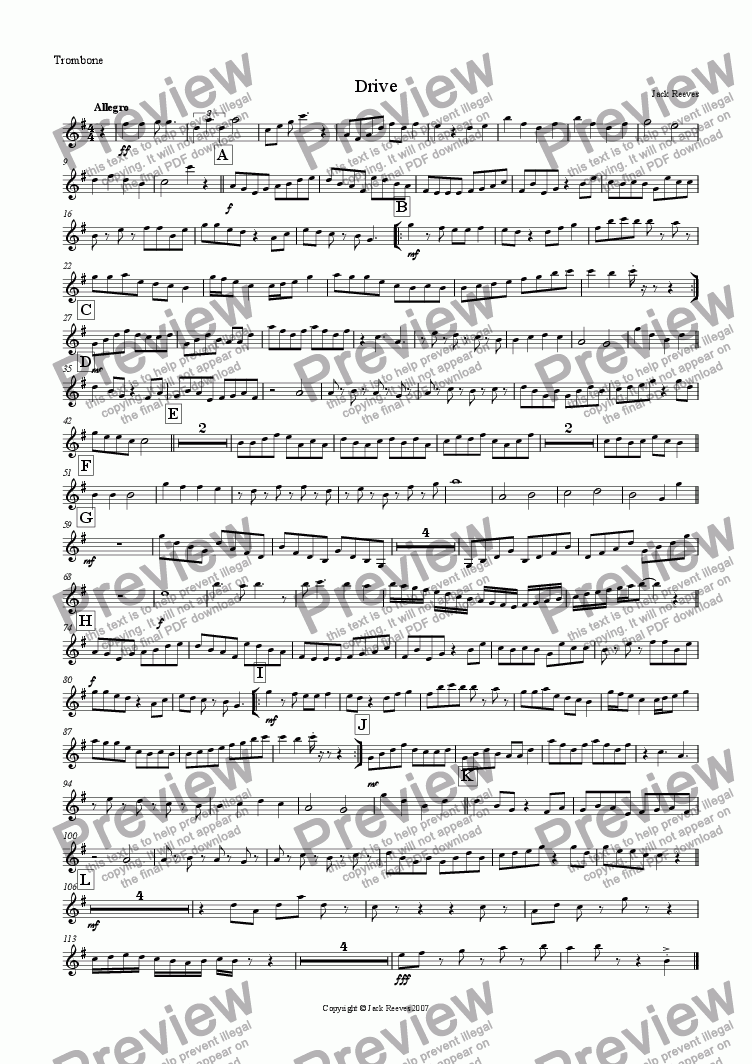 page one of the Trombone (Treble Clef) part from Drive (Brass Quartet with Piano)