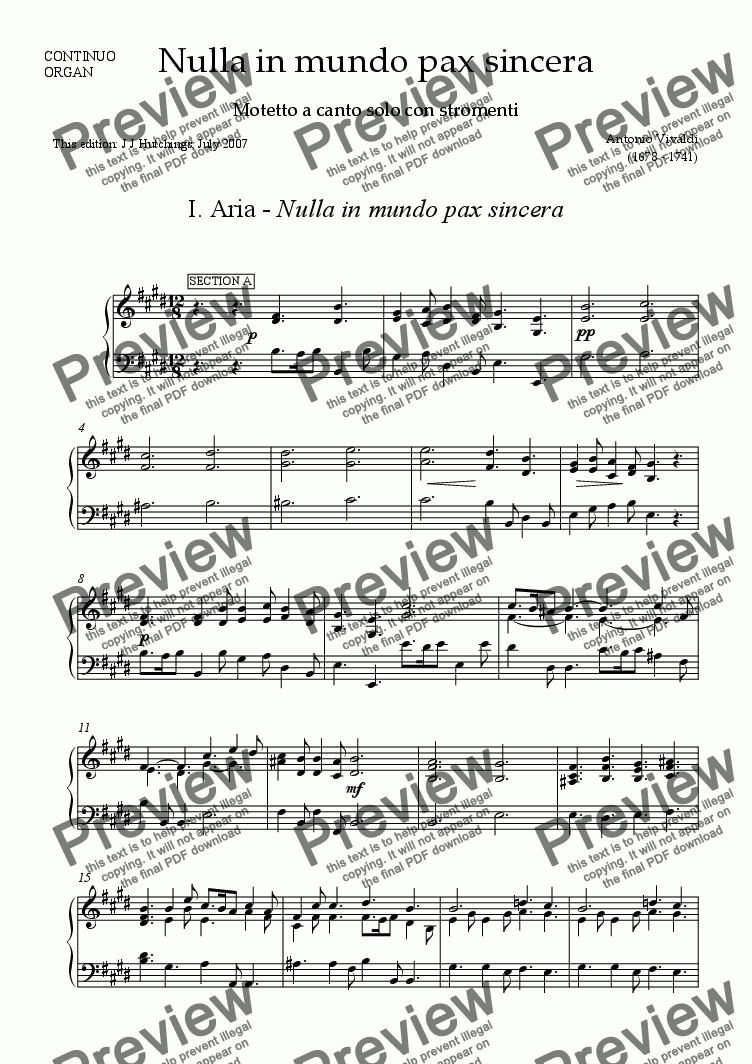 page one of the Continuo [Cembalo] part from Vivaldi - Nulla in mundo pax sincera (complete) [S & Orchestra]