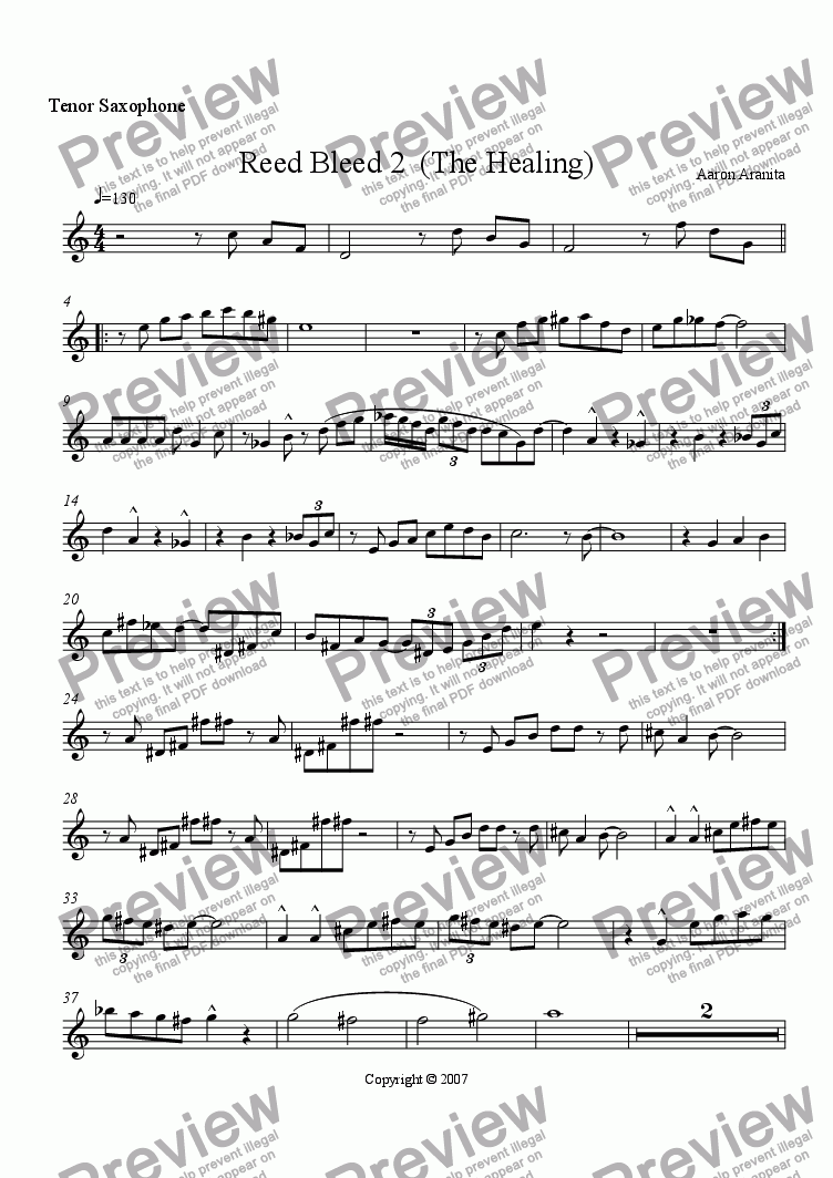 page one of the Tenor sax part from Reed Bleed 2(The Healing)