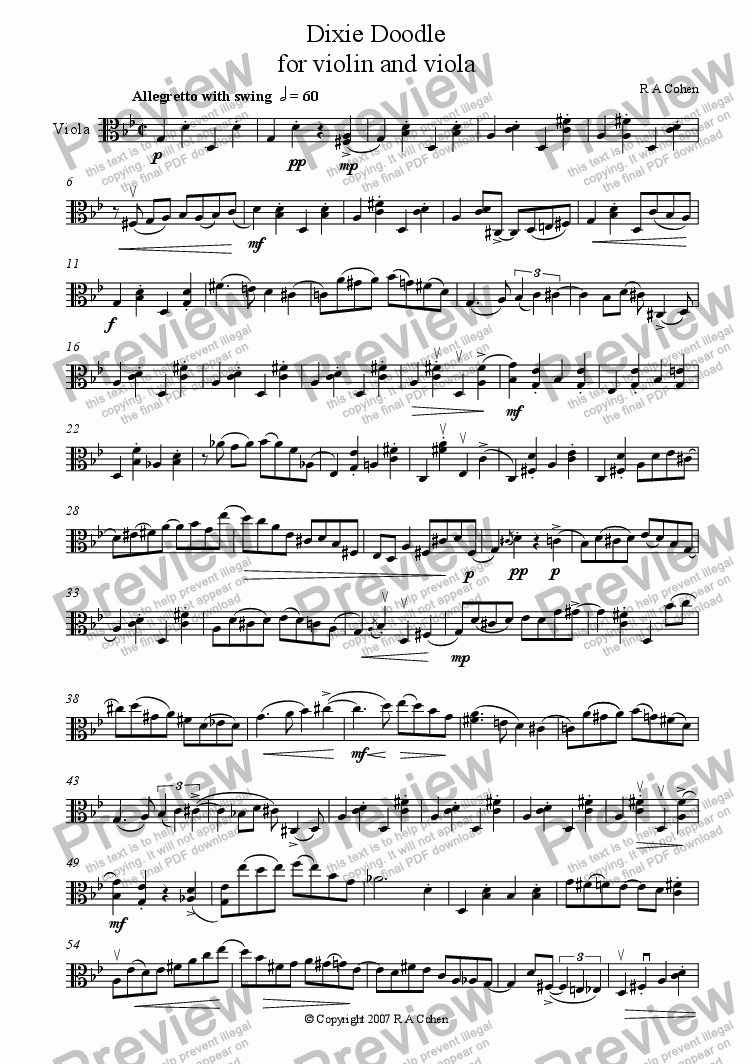 page one of the Viola part from DIXIE DOODLE - for violin and viola