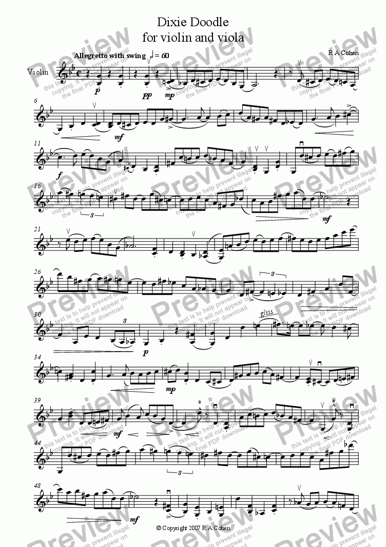 page one of the Violin part from DIXIE DOODLE - for violin and viola