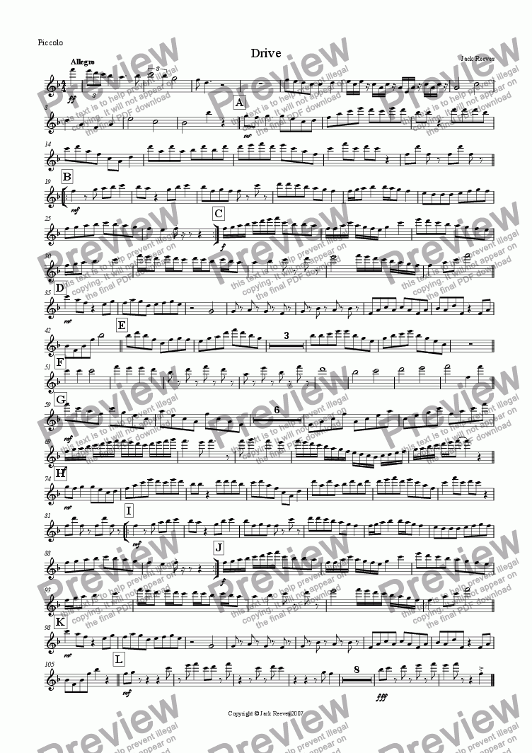 page one of the Piccolo part from Drive (Flute Quartet with Piano)