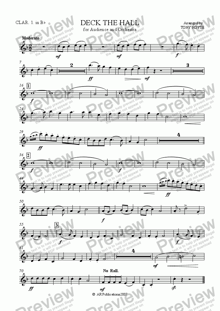 page one of the Clarinet !  in B flat part from Deck The Hall